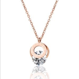 Roman Numeral Rose Gold Necklace .